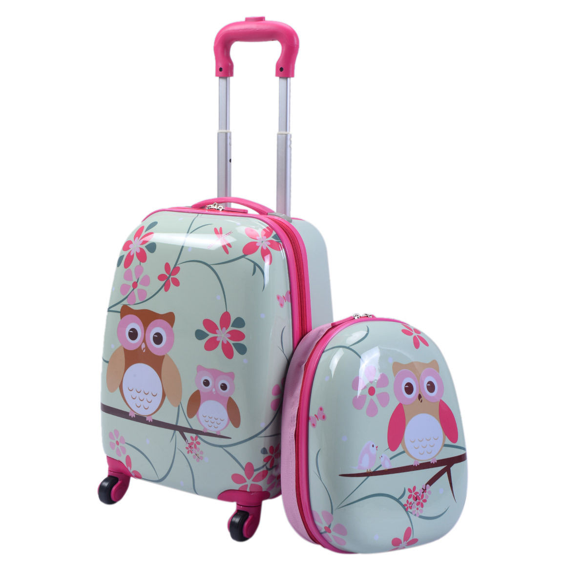 Costway 2Pc 12'' 16'' Kids Luggage Set Suitcase Backpack School Travel Trolley ABS by Costway