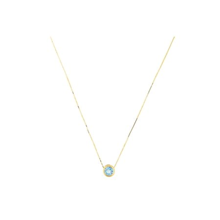 14k Yellow Gold 7mm Genuine Blue Topaz December Birthstone Bezel Set Slide Pendant Necklace, (Citrine Bezel Necklace)