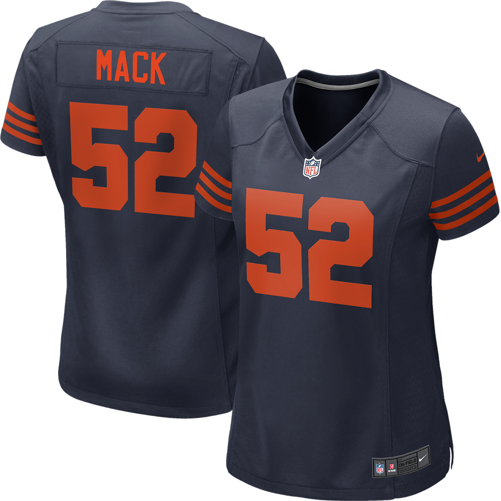 half off 6e258 28d08 Khalil Mack Chicago Bears Nike Women's Throwback Game Jersey - Navy