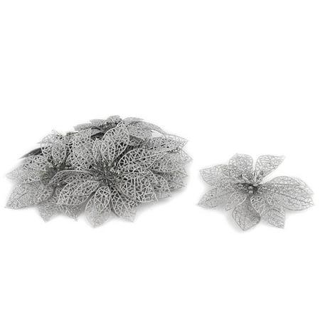 Unique Bargains Home Christmas Tree Artificial Glitter Hanging Flower Silver Tone 10 Pcs ()