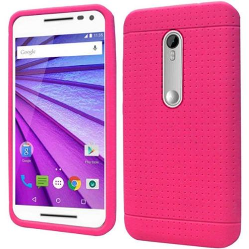 Insten Rugged Rubber Cover Case For Motorola Moto G (3rd Gen) - Hot Pink