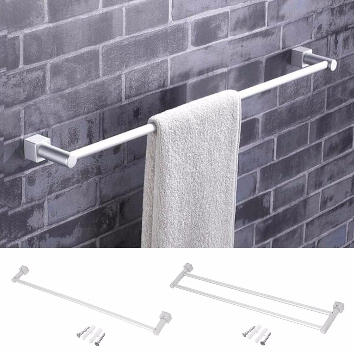 M.way Aluminum Bathroom Double Towel Rail Rack Holder 2 Bar Hanger Wall Mount Shelf