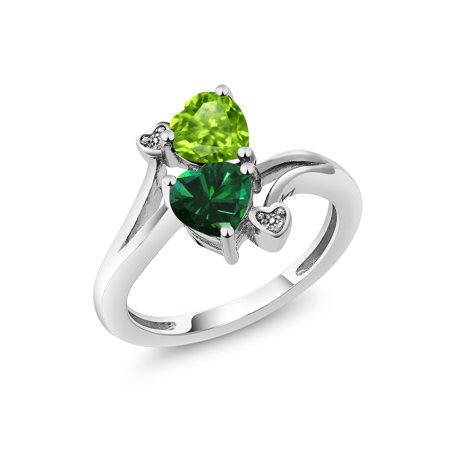 1.54 Ct Heart Shape Green Peridot Green Simulated Emerald 925 Sterling Silver - Emerald Shape Ring