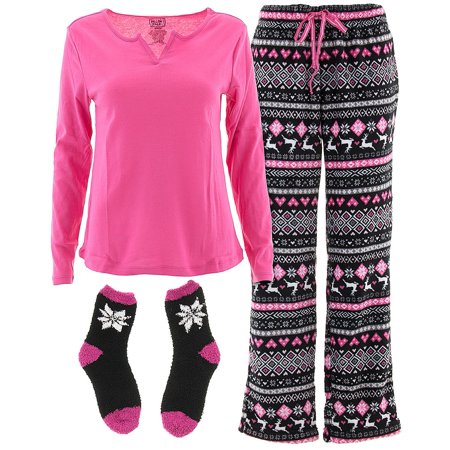 Pillow Talk Pattern - Pillow Talk Women's Pink Fair Isle 3-Piece Pajamas