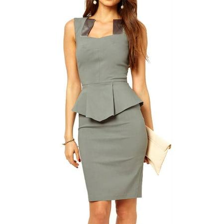 Bodycon Midi or Mini Peplum Dress with Square Neckline