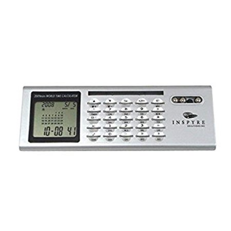 World Time Alarm Clock With Calendar And Calculator   Silver    Case Pack 80