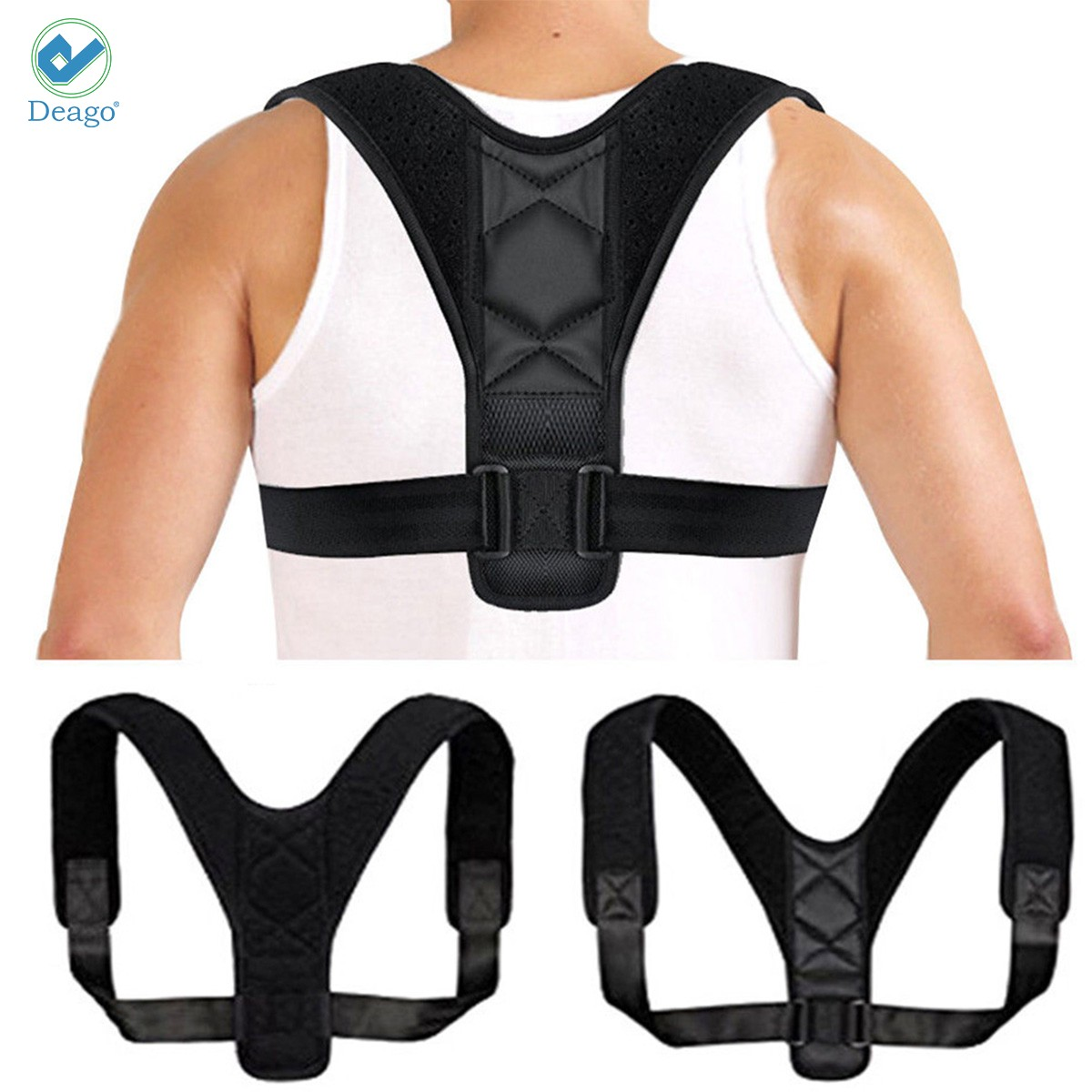 Deago Posture Corrector for Men and Women Upper Back Brace Clavicle Support Device for Thoracic Kyphosis and Shoulder Neck Pain Relief (Size L)