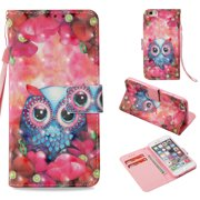 iPhone 6 Plus Case Wallet, iPhone 6S Plus Case, Allytech 3D Emboss Leather Protective Cover & Credit Card Pocket, Support Kickstand Slim Case for Apple iPhone 6 Plus 6S Plus (Pink Flower Owl)