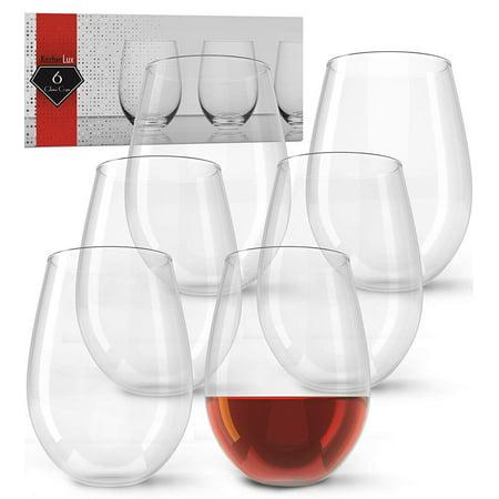 e06469a3a355 Stemless Wine Glasses, 19oz – Set of 6 Elegant Cocktail Tumblers – Premium Glass  Drinking