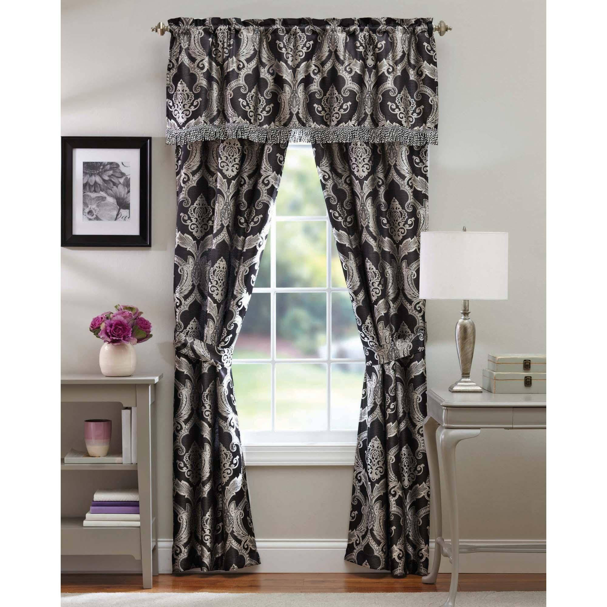 Black And White Color Block Curtains Damask Bedroom Curta
