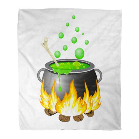 ASHLEIGH Flannel Throw Blanket Bowl Black Autumn Halloween Cauldron Green Boiler Brew Bright Soft for Bed Sofa and Couch 50x60 - Dry Ice For Halloween Cauldron