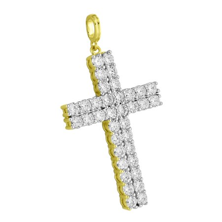 2 Row Solitaire Cross Pendant Cubic Zirconia CZ Charm 14k Gold Over Sterling Silver