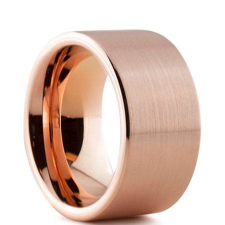 208dfa2a1 Tungsten Wedding Band Ring 12mm for Men Women Comfort Fit 18K Rose Gold  Plated Plated Pipe ...