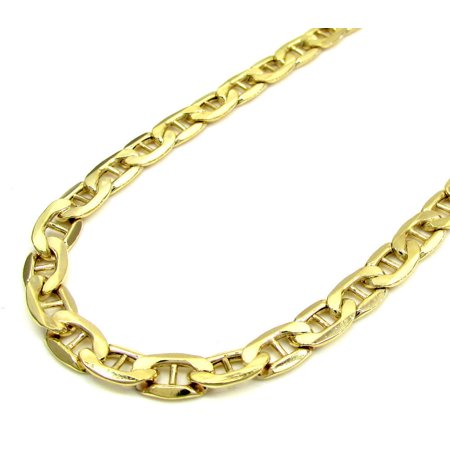 14K Yellow Gold Men's 5MM Concave Mariner Link Chains Necklace Lobster Clasp, 20 to 28 Inches (28) 14k Gold Marine Link
