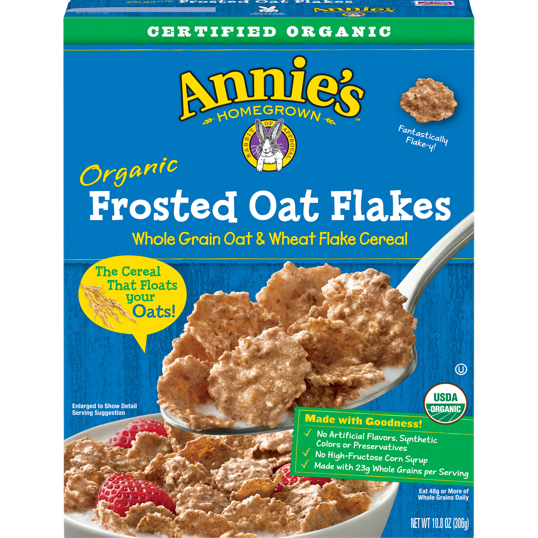 (2 Pack) Annie's Organic Cereal, Frosted Oat Flakes, Whole Grain Cereal, 10oz Box
