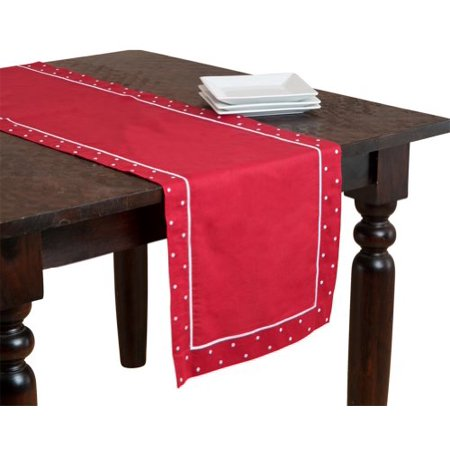 Angelina Embroidered Swiss Dots Red Table Runner, Linen and Cotton, 16