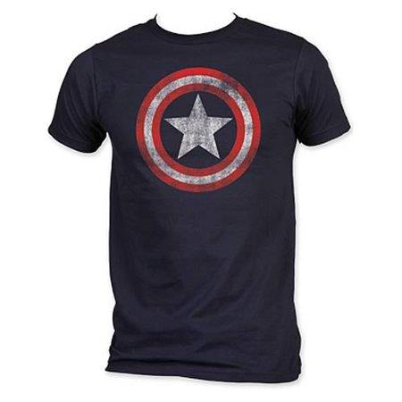 Captain America Shield Logo T-Shirt Distressed Navy Blue Adult Mens Movie