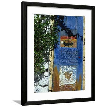Painted Shutter, Chania Old Town, Crete, Greek Islands, Greece, Europe Framed Print Wall Art By Jean (Best Way To Paint Wood Shutters)
