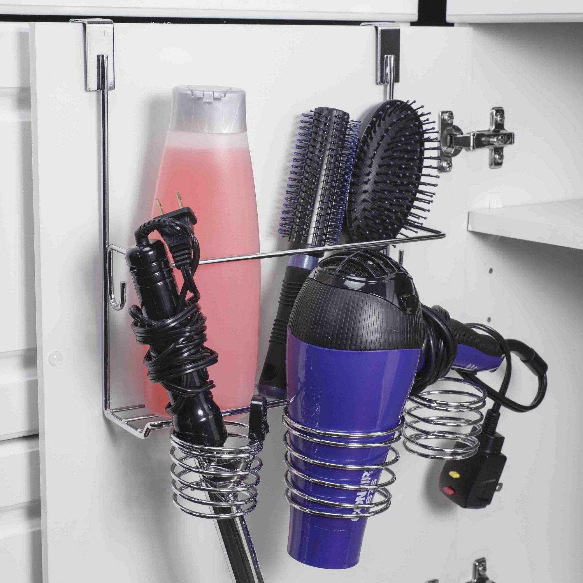 Home Basics Over-the-Cabinet Chrome Hairdryer Holder