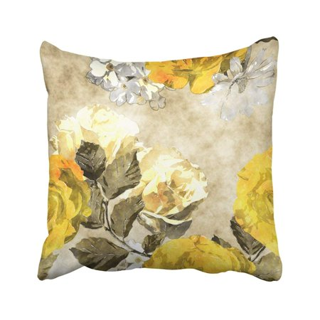 WOPOP Monochrome Watercolor Vintage Floral With Gold Yellow And White Roses Phlox And Asters Pillowcase Throw Pillow Cover 16x16 inches ()