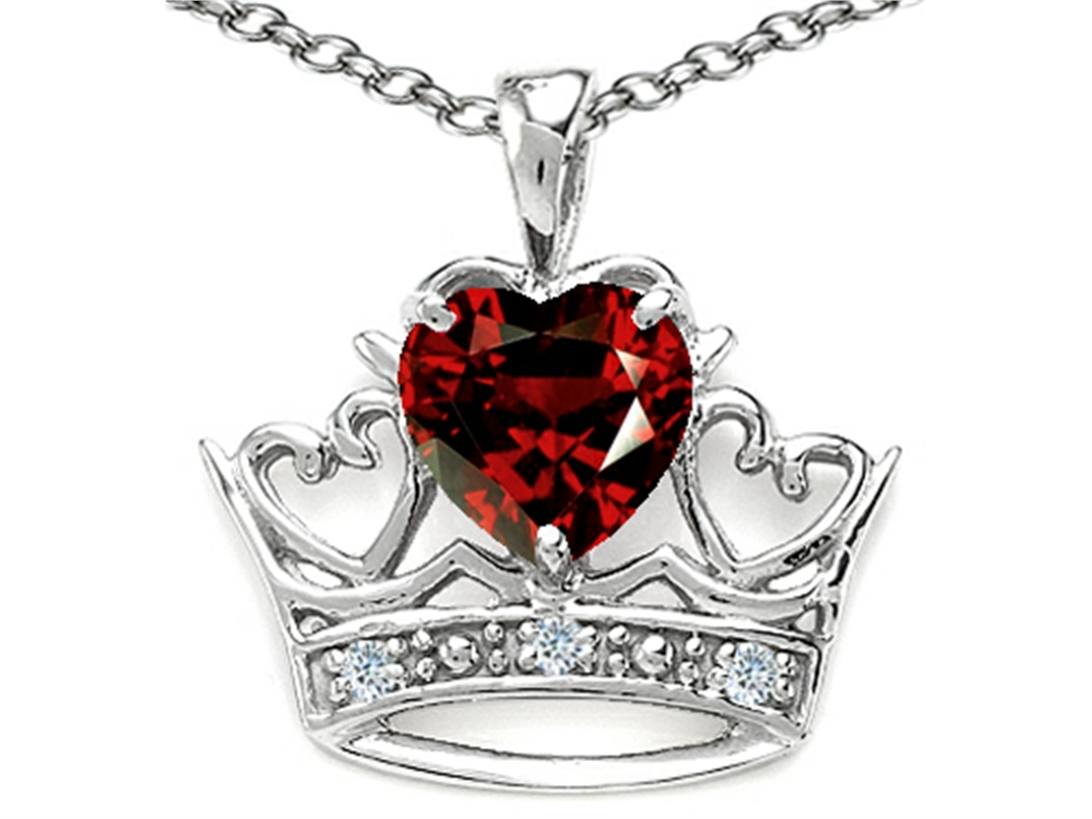 Tommaso Design Heart Shape 6 mm Genuine Garnet Crown Pendant Necklace by