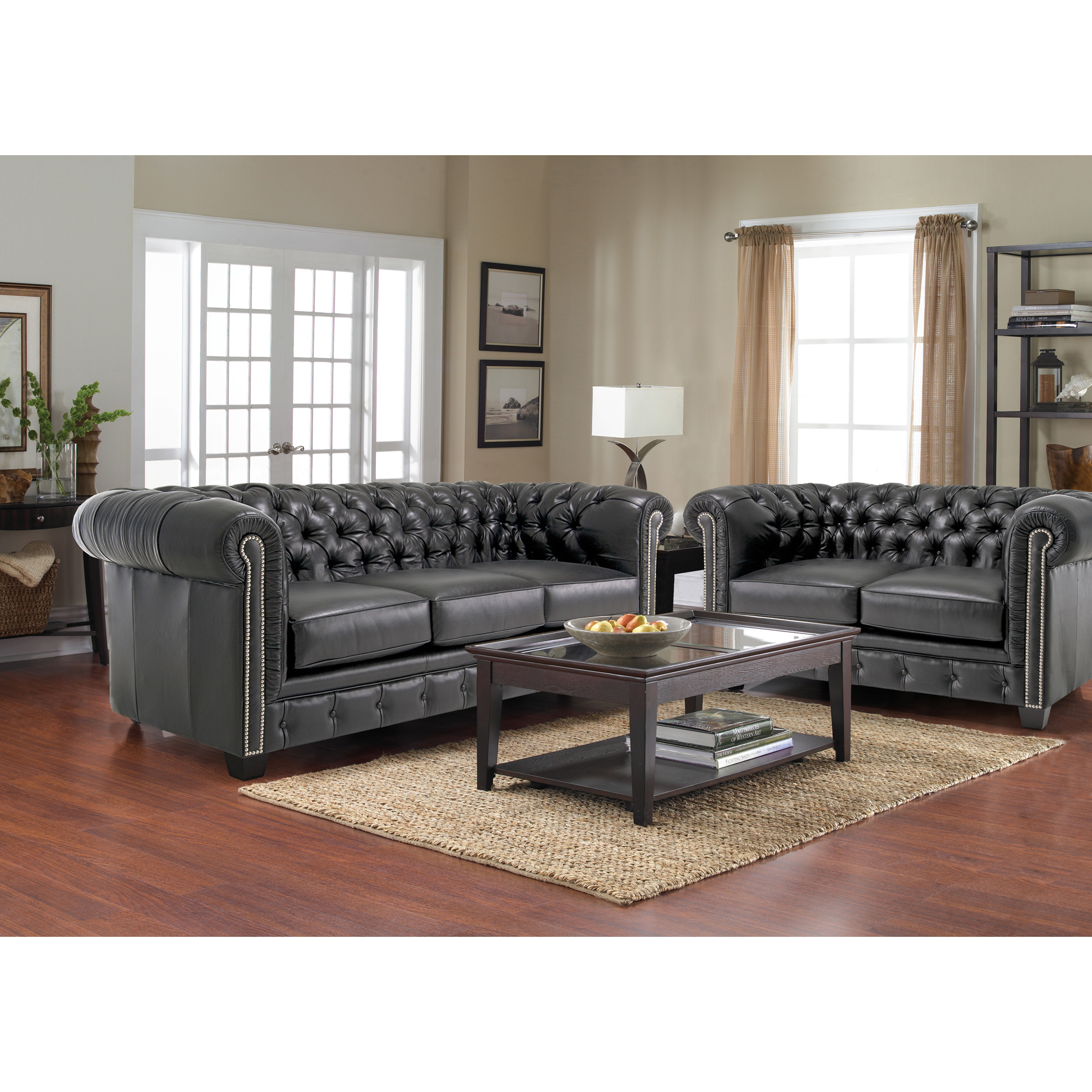 Sofaweb Han Tufted Black Italian Chesterfield Leather Sofa And Loveseat