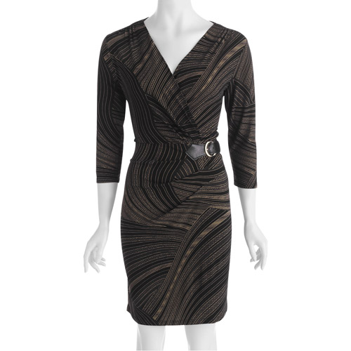 Miss Tina Women's Buckled Wrap Dress