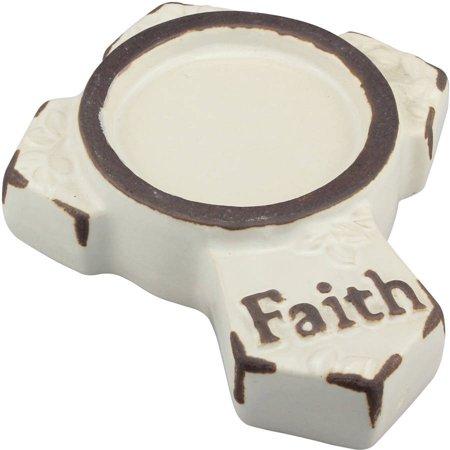 Worn White Ceramic Faith Small Cross Pillar Holder