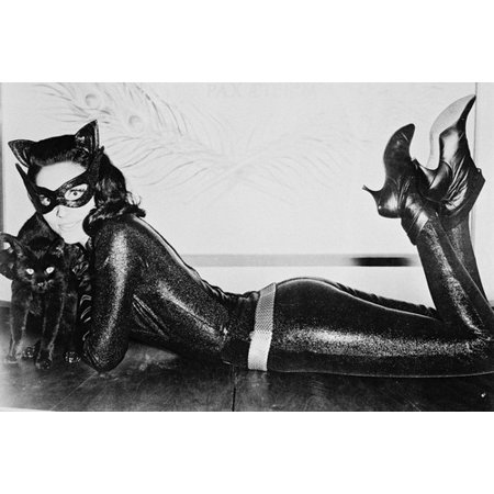 Batman Lee Meriwether lying on floor in Catwoman leathers & boots 24x36 - Catwoman Boots For Sale