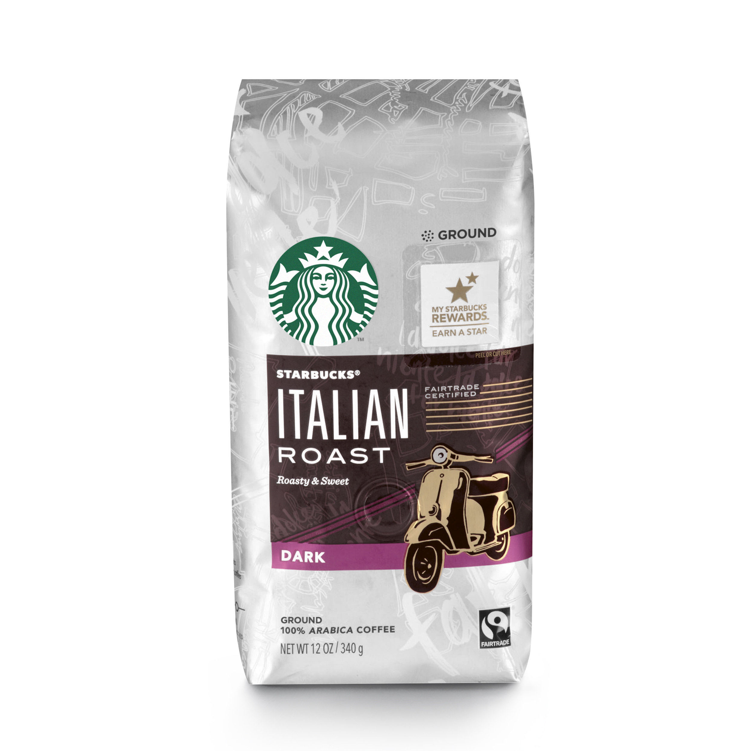 Starbucks Italian Roast Dark Roast Ground Coffee, 12-Ounce Bag