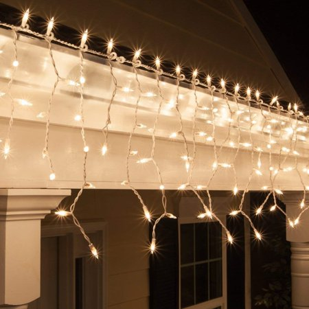 ALEKO Christmas Holiday Indoor/Outdoor Icicle Drop 100 String Lights - 18 Foot - Clear