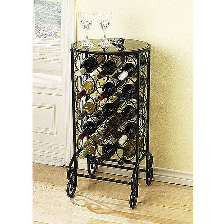 Southern Enterprises Monterey Glass Top Wine Table In Painted Black
