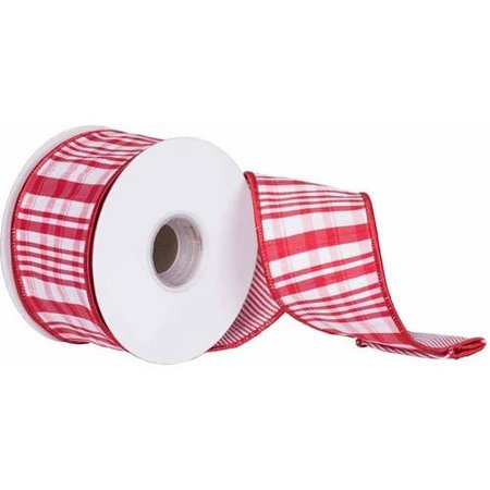 vickerman 25 red white scandia plaid christmas ribbon