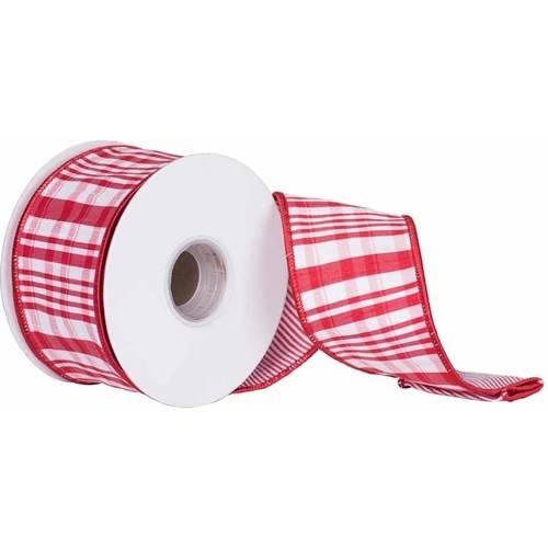 """Vickerman 2.5"""" Red-White Scandia Plaid Christmas Ribbon"""