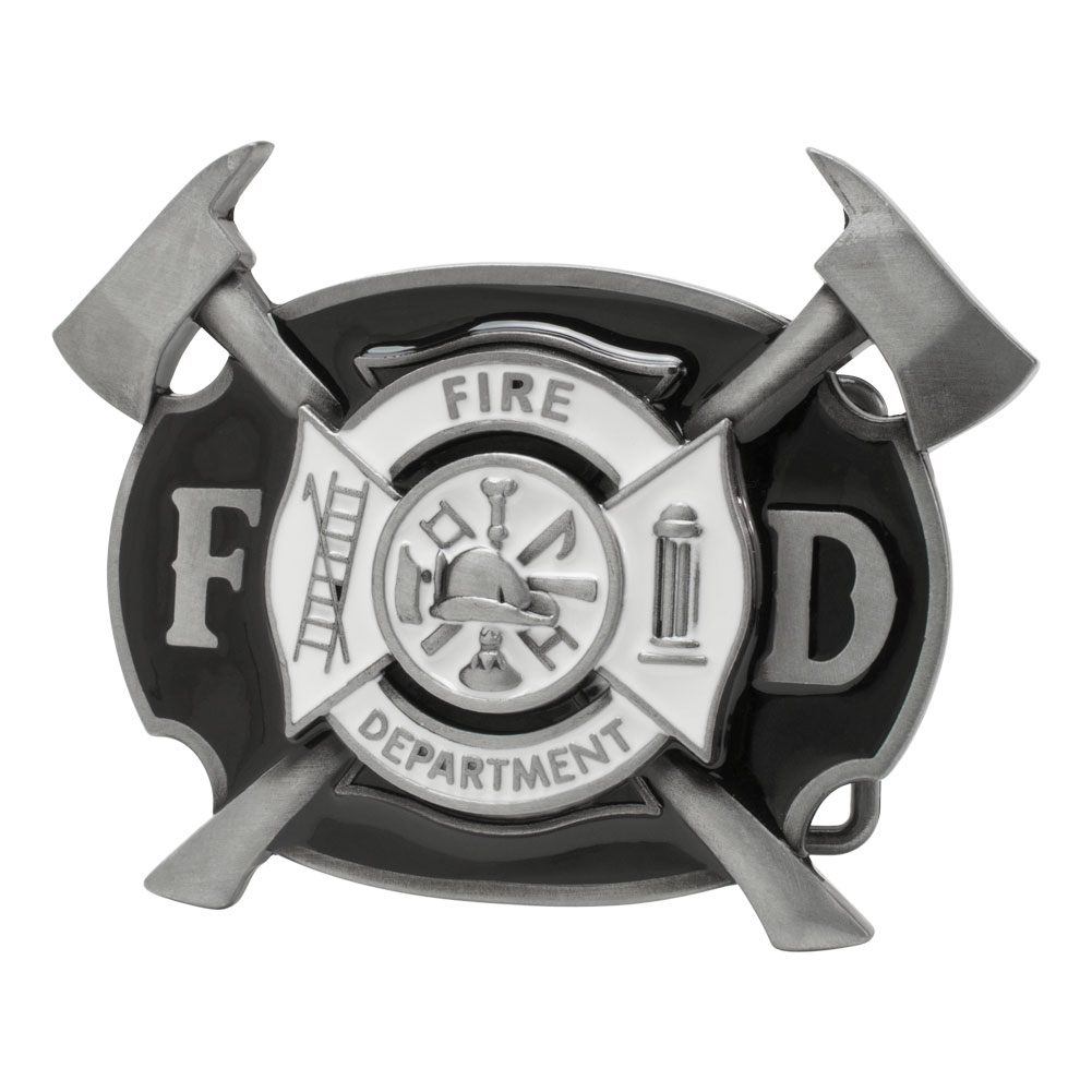 Buckle Rage Enamel Fire Department Emergency Rescue  Belt Buckle, BLACK, 299