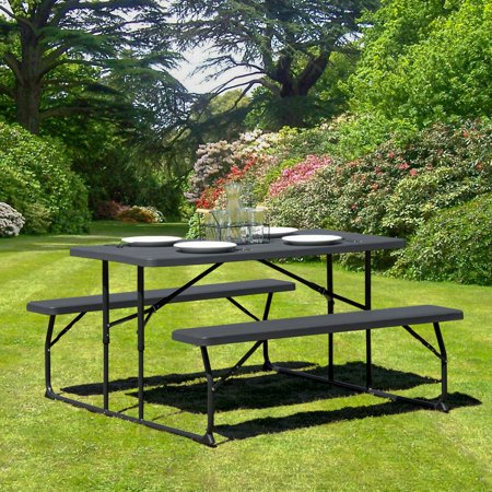 Flash Furniture Insta-Fold Charcoal Wood Grain Folding Picnic Table and Benches (Folding Picnic Table Bench Plans)