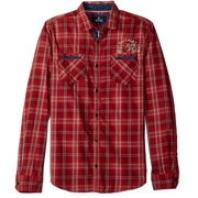 NEW Red Mens Size Large L Button Down Plaid Shirt