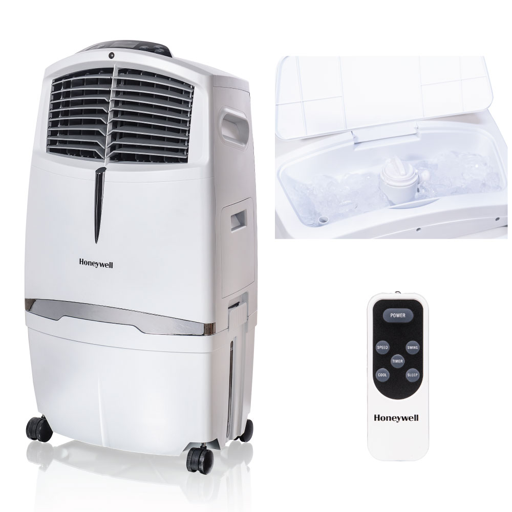 Honeywell CL30XCWW 525 CFM 320 sq. ft. Indoor Portable Evaporative Air Cooler (Swamp Cooler) with Remote Control, White