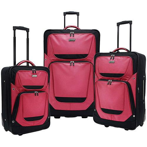 Coleman New Ridgeline 3-Piece Rugged Luggage Set, Red