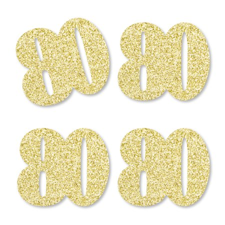 Gold Glitter 80 - No-Mess Real Gold Glitter Cut-Out Numbers - 80th Birthday Party Confetti - Set of 25