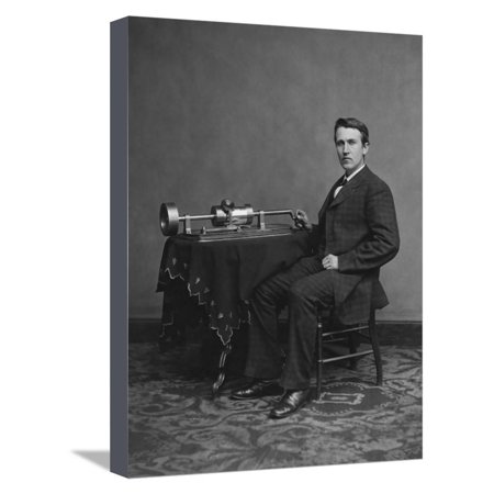 Thomas Edison with His Second Phonograph, Circa 1878 Stretched Canvas Print Wall Art By Stocktrek - Edison Phonograph