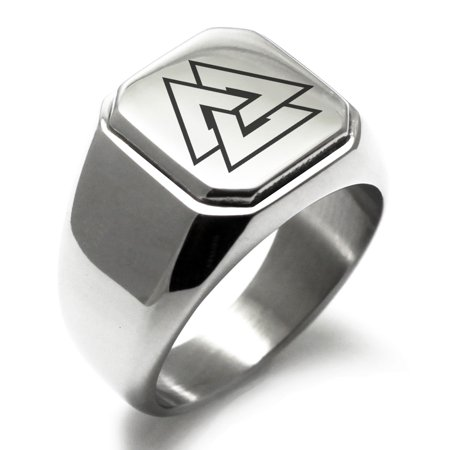 Stainless Steel Norse Valknut Viking Engraved Square Flat Top Biker Style Polished Signet (Stainless Steel Square Ring)
