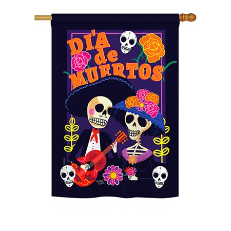 Halloween Usa Flag (Breeze Decor - Dia de Muertos Couple Fall - Seasonal Halloween Impressions Decorative Vertical House Flag 28