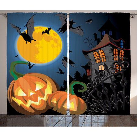 The Holiday Aisle Halloween Decorations Gothic Halloween Haunted House Party Theme Trick or Treat for Kids Graphic Print & Text Semi-Sheer Rod Pocket Curtain Panels (Set of 2) (Row 14 Halloween)