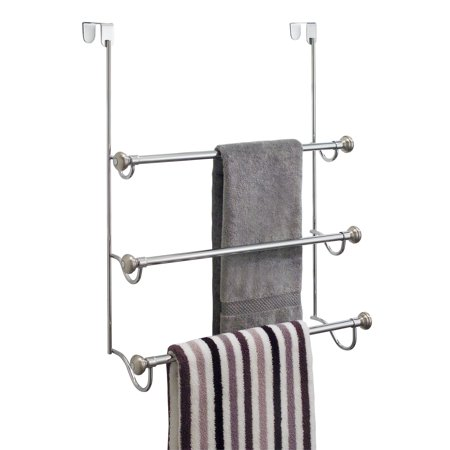 Over Shower Door Towel Rack (InterDesign York Over the Shower Door Towel Rack for Bathroom, Chrome/Brushed )