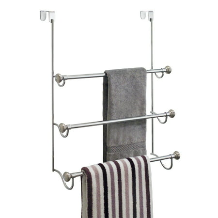 InterDesign York Over the Shower Door Towel Rack for Bathroom, Chrome/Brushed