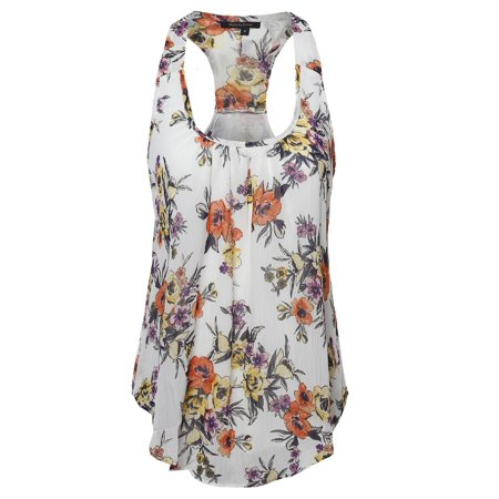 FashionOutfit Women's Floral Scoop Neck Racerback Cami Tank - Floral Scoop Neck Top
