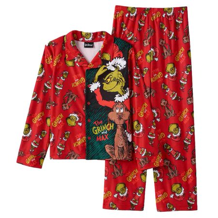 Personalized Christmas Pajamas Kids.Dr Seuss Boys Red Flannel Christmas Sleepwear The Grinch Max Pajama Set