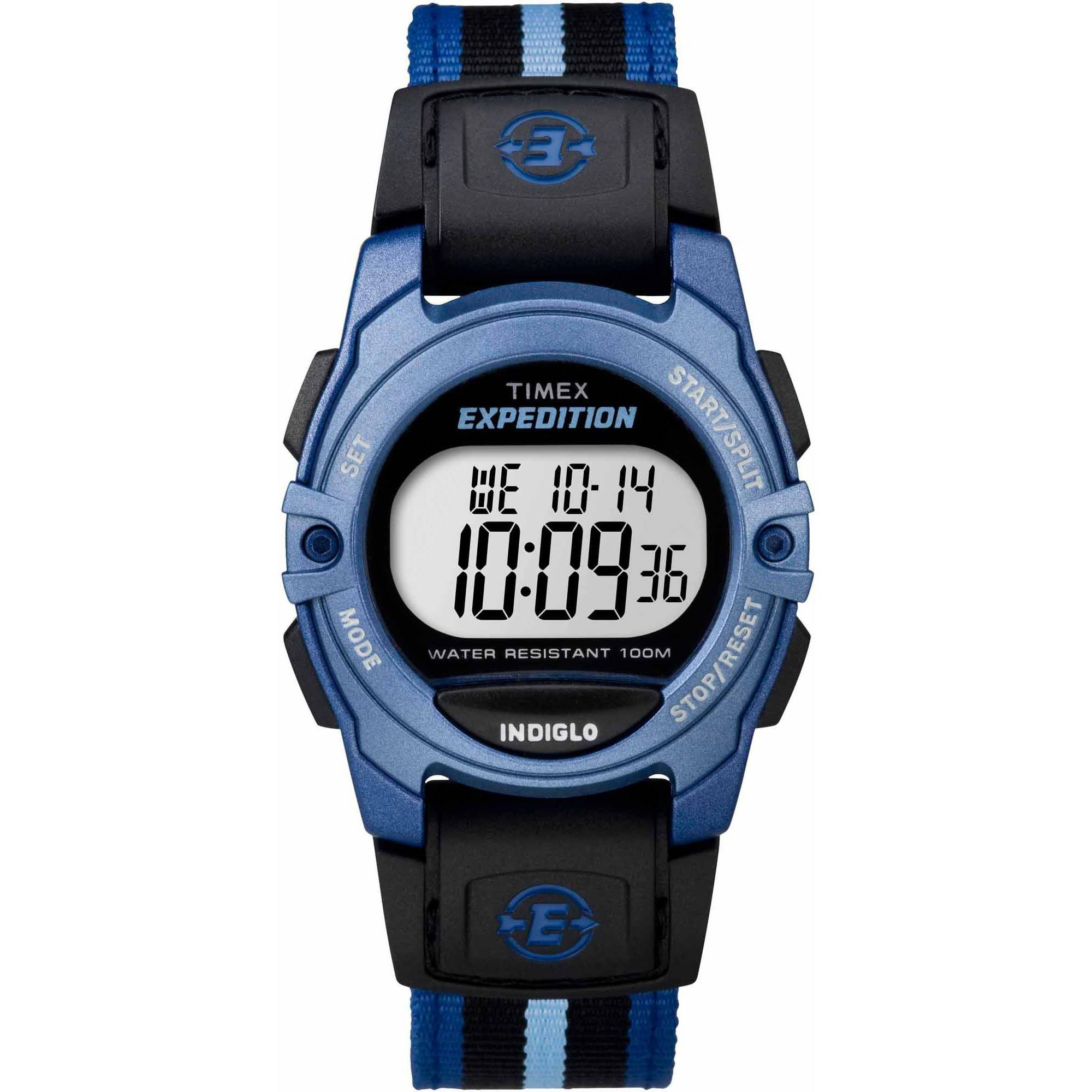 Timex Unisex Expedition Digital CAT Mid-Size Watch, Blue Stripe Nylon Strap by Timex