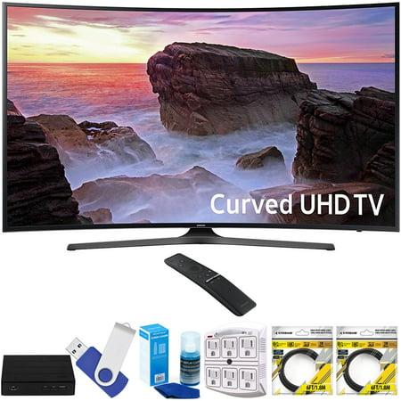 Samsung Un65mu6500fxza Curved 65  4K Ultra Hd Smart Led Tv  2017 Model  Plus Terk Cut The Cord Hd Digital Tv Tuner And Recorder 16Gb Hook Up Bundle